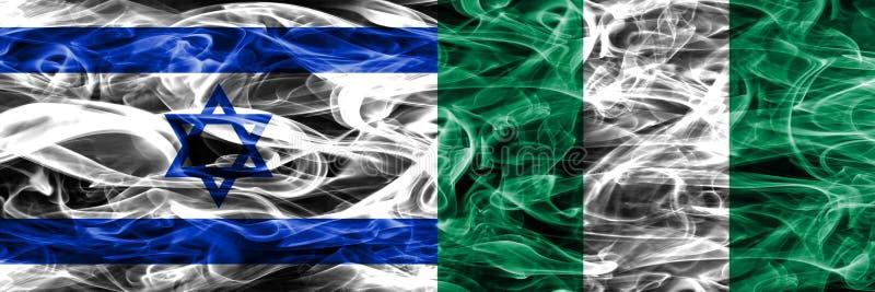 L'Israël contre des drapeaux de fumée du Nigéria placés côte à côte Israélien et N illustration stock
