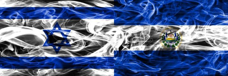 L'Israël contre des drapeaux de fumée du Salvador placés côte à côte Israélien a illustration stock