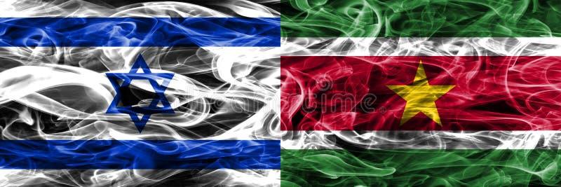 L'Israël contre des drapeaux de fumée du Surinam placés côte à côte Israélien et illustration libre de droits