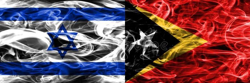 L'Israël contre des drapeaux de fumée du Timor oriental placés côte à côte Israélien illustration stock