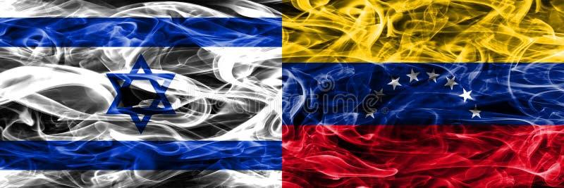 L'Israël contre des drapeaux de fumée du Venezuela placés côte à côte Israélien et illustration libre de droits