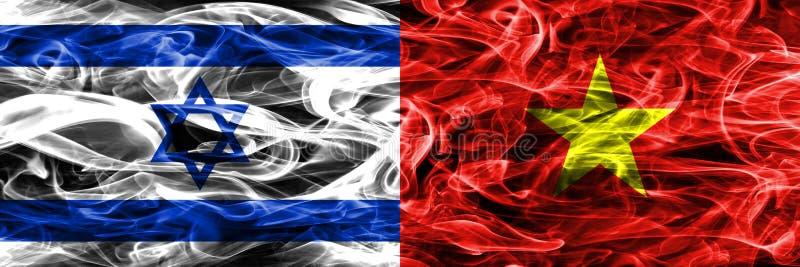 L'Israël contre des drapeaux de fumée du Vietnam placés côte à côte Israélien et V illustration libre de droits