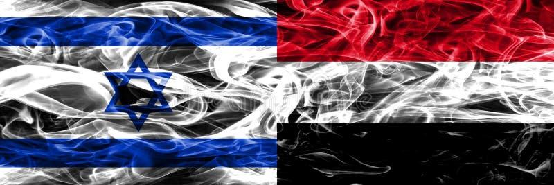L'Israël contre des drapeaux de fumée du Yémen placés côte à côte Israélien et Yem illustration de vecteur