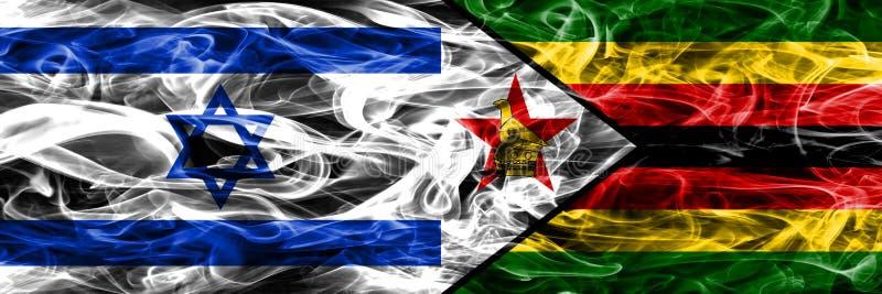 L'Israël contre des drapeaux de fumée du Zimbabwe placés côte à côte Israélien et illustration stock