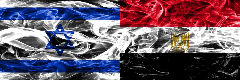 L'Israël contre des drapeaux de fumée de l'Egypte placés côte à côte Israélien et Egy illustration stock