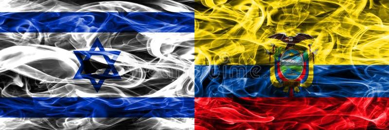 L'Israël contre des drapeaux de fumée de l'Equateur placés côte à côte Israélien et E illustration de vecteur