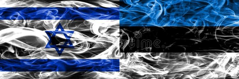 L'Israël contre des drapeaux de fumée de l'Estonie placés côte à côte Israélien et E illustration stock