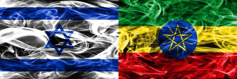 L'Israël contre des drapeaux de fumée de l'Ethiopie placés côte à côte Israélien et illustration libre de droits