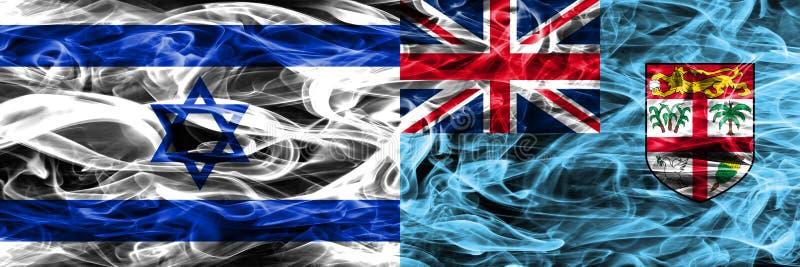 L'Israël contre des drapeaux de fumée des Fidji placés côte à côte Israélien et les Fidji illustration libre de droits