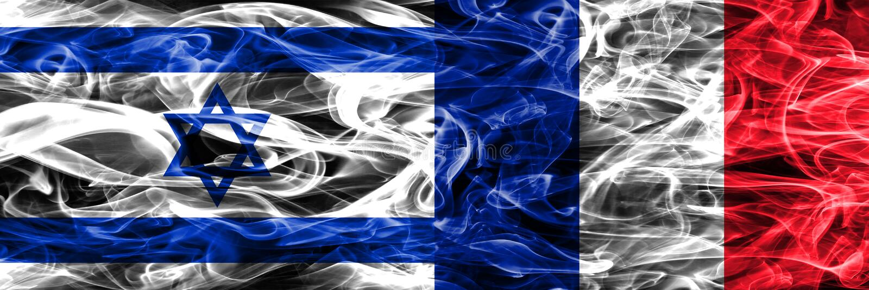 L'Israël contre des drapeaux de fumée de Frances placés côte à côte Israélien et franc illustration stock
