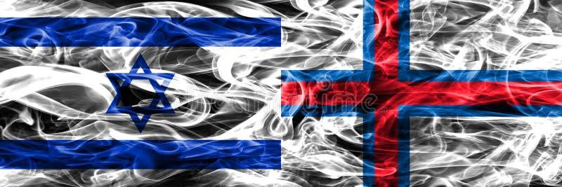 L'Israël contre des drapeaux de fumée des Iles Féroé placés côte à côte israélien illustration de vecteur