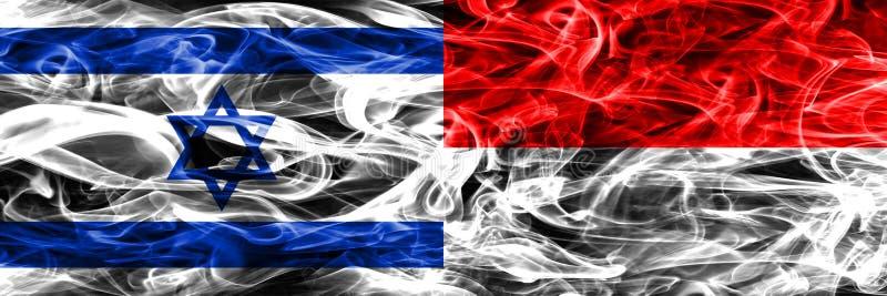 L'Israël contre des drapeaux de fumée de l'Indonésie placés côte à côte Israélien et illustration de vecteur