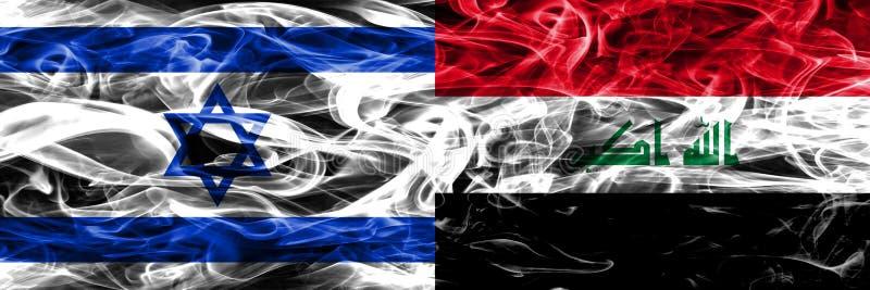 L'Israël contre des drapeaux de fumée de l'Irak placés côte à côte Israélien et l'Irak illustration stock