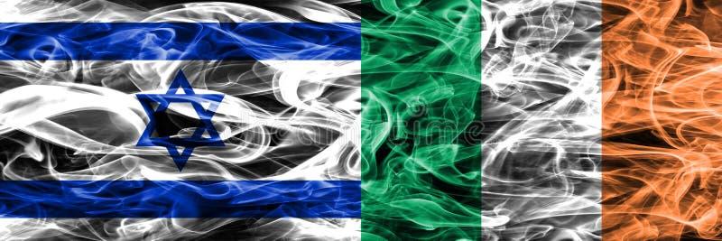 L'Israël contre des drapeaux de fumée de l'Irlande placés côte à côte Israélien et I illustration de vecteur
