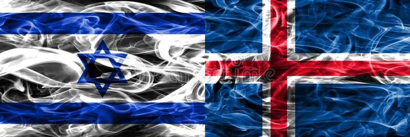 L'Israël contre des drapeaux de fumée de l'Islande placés côte à côte Israélien et I illustration stock