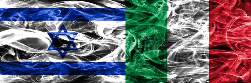 L'Israël contre des drapeaux de fumée de l'Italie placés côte à côte Israélien et AIE illustration de vecteur