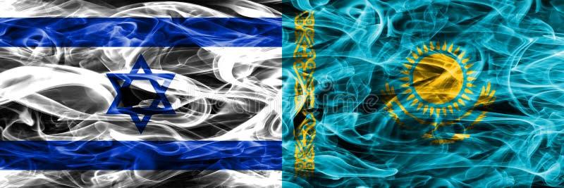 L'Israël contre des drapeaux de fumée de Kazakhstan placés côte à côte Israélien illustration libre de droits