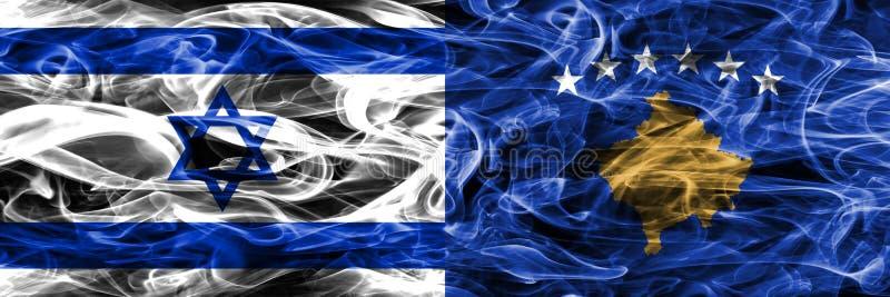 L'Israël contre des drapeaux de fumée de Kosovo placés côte à côte Israélien et Ko illustration stock