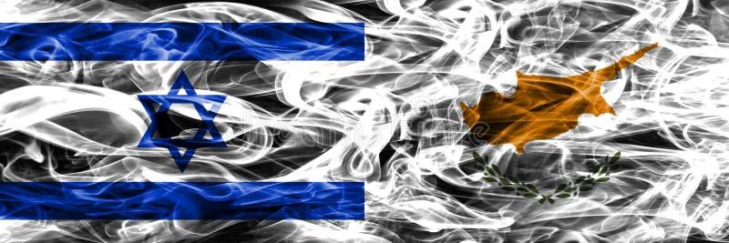 L'Israël contre des drapeaux de fumée de la Chypre placés côte à côte Israélien et la CY illustration stock
