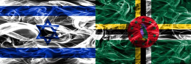 L'Israël contre des drapeaux de fumée de la Dominique placés côte à côte Israélien et illustration libre de droits