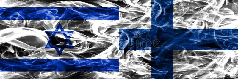L'Israël contre des drapeaux de fumée de la Finlande placés côte à côte Israélien et F illustration libre de droits