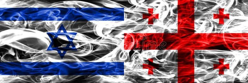 L'Israël contre des drapeaux de fumée de la Géorgie placés côte à côte Israélien et G illustration stock