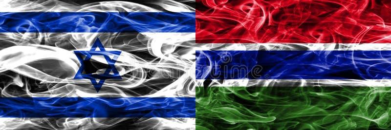 L'Israël contre des drapeaux de fumée de la Gambie placés côte à côte Israélien et GA illustration stock