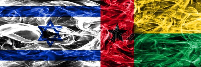 L'Israël contre des drapeaux de fumée de la Guinée-Bissau placés côte à côte israélien illustration de vecteur