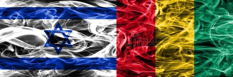 L'Israël contre des drapeaux de fumée de la Guinée placés côte à côte Israélien et GU illustration de vecteur
