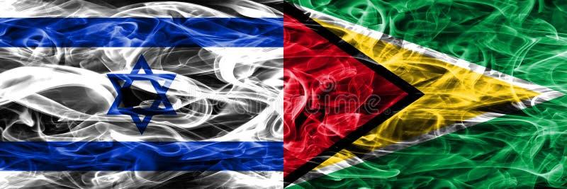 L'Israël contre des drapeaux de fumée de la Guyane placés côte à côte Israélien et GU illustration stock