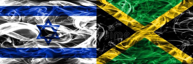 L'Israël contre des drapeaux de fumée de la Jamaïque placés côte à côte Israélien et J illustration stock