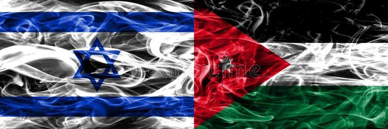 L'Israël contre des drapeaux de fumée de la Jordanie placés côte à côte Israélien et Jo illustration de vecteur
