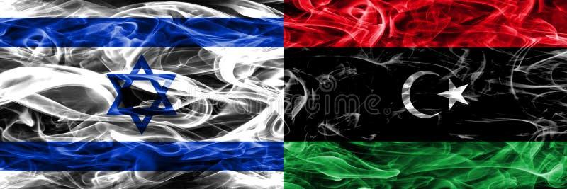 L'Israël contre des drapeaux de fumée de la Libye placés côte à côte Israélien et bibliothèque illustration de vecteur