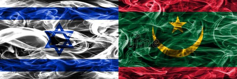 L'Israël contre des drapeaux de fumée de la Mauritanie placés côte à côte Israélien illustration de vecteur