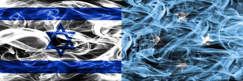 L'Israël contre des drapeaux de fumée de la Micronésie placés côte à côte Israélien illustration de vecteur