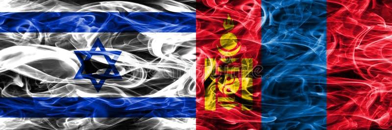 L'Israël contre des drapeaux de fumée de la Mongolie placés côte à côte Israélien et illustration libre de droits