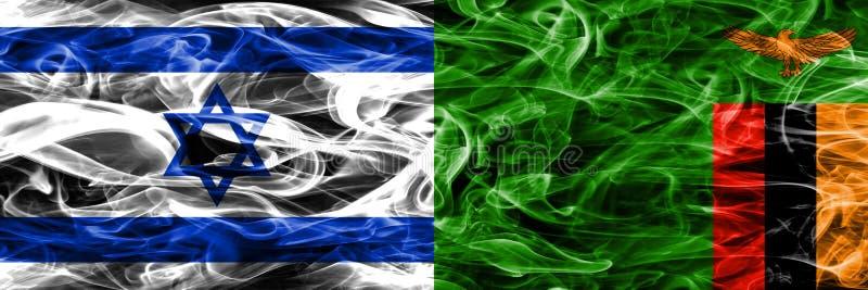 L'Israël contre des drapeaux de fumée de la Zambie placés côte à côte Israélien et Za illustration de vecteur