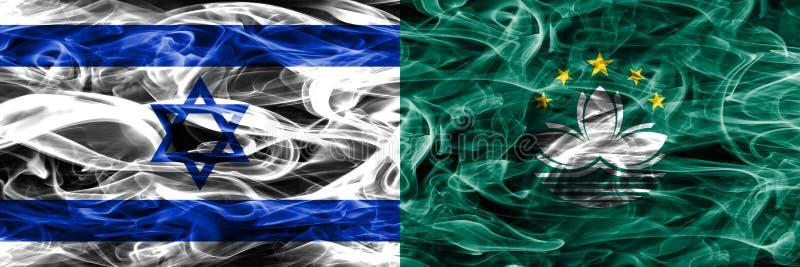 L'Israël contre des drapeaux de fumée de Macao placés côte à côte Israélien et Mac illustration stock