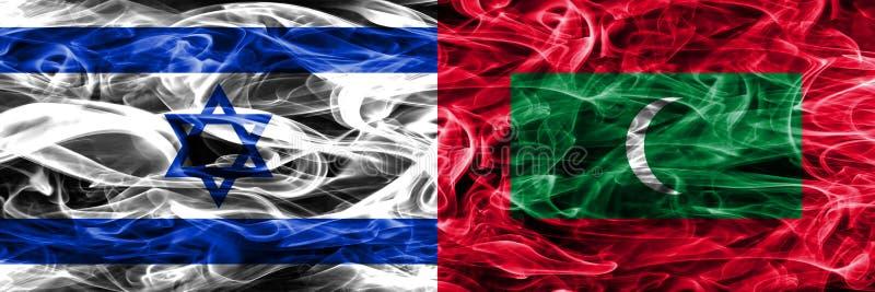 L'Israël contre des drapeaux de fumée des Maldives placés côte à côte Israélien et illustration stock