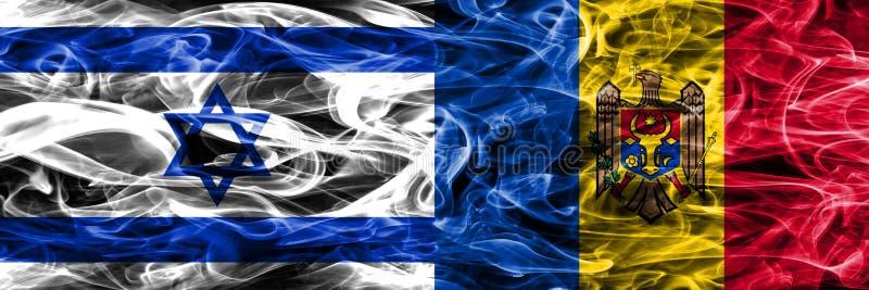 L'Israël contre des drapeaux de fumée de Moldau placés côte à côte Israélien et M illustration de vecteur