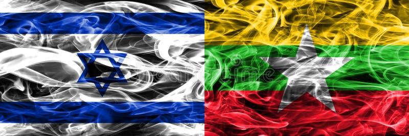 L'Israël contre des drapeaux de fumée de Myanmar placés côte à côte Israélien et M illustration de vecteur