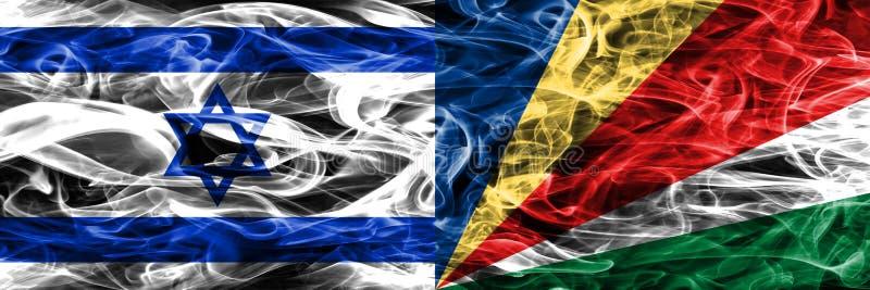 L'Israël contre des drapeaux de fumée des Seychelles placés côte à côte Israélien illustration stock