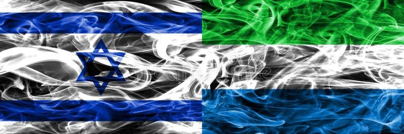 L'Israël contre des drapeaux de fumée de Sierra Leone placés côte à côte israélien illustration stock