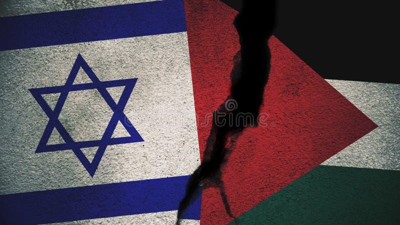 L'Israël contre des drapeaux de la Palestine sur le mur criqué image stock