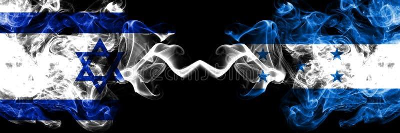 L'Israël contre le Honduras, drapeaux mystiques fumeux honduriens placés côte à côte Épais coloré soyeux fume le drapeau de l'Isr illustration de vecteur