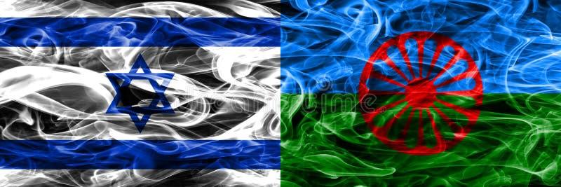 L'Israël contre les drapeaux gitans de fumée placés côte à côte Israélien et GIP illustration libre de droits