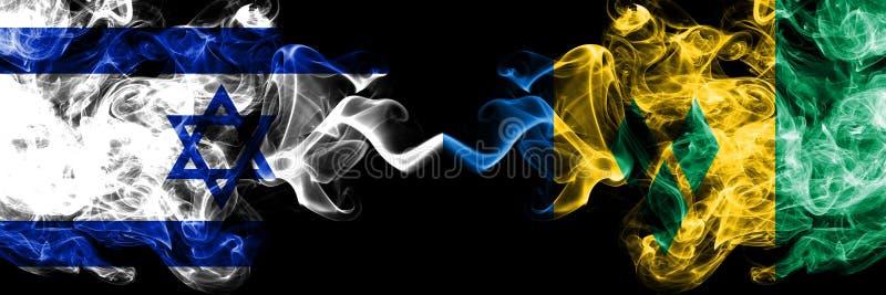L'Israël contre les drapeaux mystiques fumeux de Saint-Vincent-et-les-Grenadines placés côte à côte ?pais color? soyeux fume le d illustration libre de droits