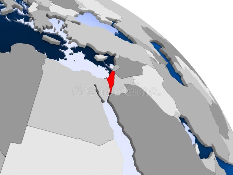 L'Israël en rouge sur la carte illustration stock