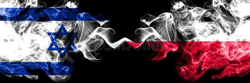 L'Israël, Israélien, Pologne, drapeaux fumeux colorés épais de concurrence polonaise Jeux europ?ens de qualifications du football illustration de vecteur