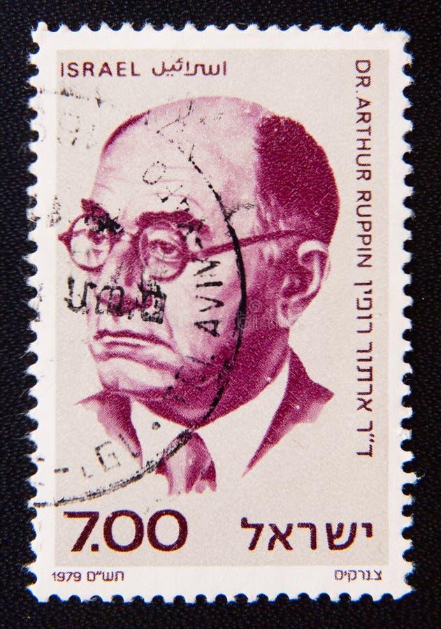 L'Israël vers les expositions penseur sioniste et le chef, Arthur Ruppin photographie stock